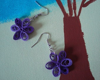 Purple and mauve flower quilling earrings