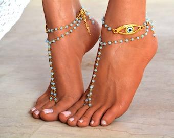 "Women Barefoot Sandal ""Luck & Faith"", foot jewelry, beaded barefoot sandal"