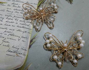 Pr. of Vintage 12k Gold Filled BUTTERFLY Brooches w/ Genuine Pearls from A&Z    ODZ33
