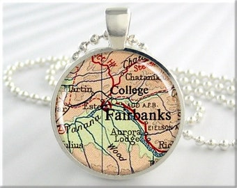 Fairbanks Map Necklace, Resin Charm, Fairbanks Alaska Map Jewelry, Round Silver, Map Charm, Gift Under 20, Alaska Gift 728RS