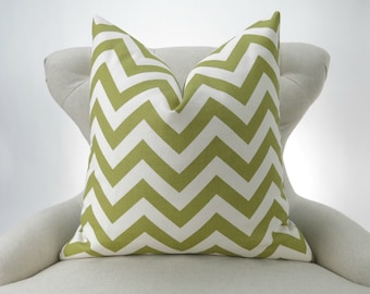 Green Chevron Pillow Cover -MANY SIZES- Zigzag Decorative Throw Pillow, Citrine Green, Off-White, Ecru, Summerland Premier Prints, FREESHIP