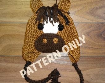 Horse Hat Crochet PATTERN, PDF, 6 Sizes, Instant Download