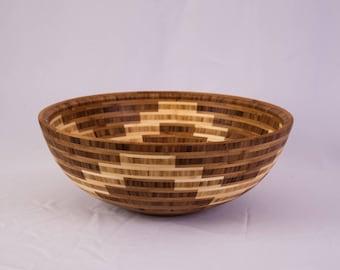 "15"" x 5.75"" Segmented Bamboo Bowl ""Waves"""
