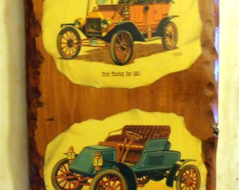 Ford Touring Car 1911 and Nash Rambler Runabout 1902 Wooden Wall Decor - Fathers Day - Car Lovers - Man Cave - Hand Made in 1973 - Epsteam