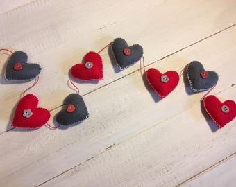 Handmade felt Love Heart garland with button detail - Red/Grey - Hearts, Heart garland- Mini heart bunting