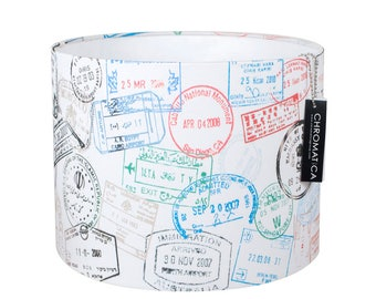 Lamp Shade - Passport Stamps. Lampshade, travel, multicolor.