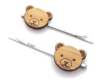 Little Bear. Bear Hair Pin. Hair Pin. Hair Clip. Hair Accessories. Hair Bows. Barrettes. Hair Barrettes. Wood Hair Pin. Kids Gift. For Her.