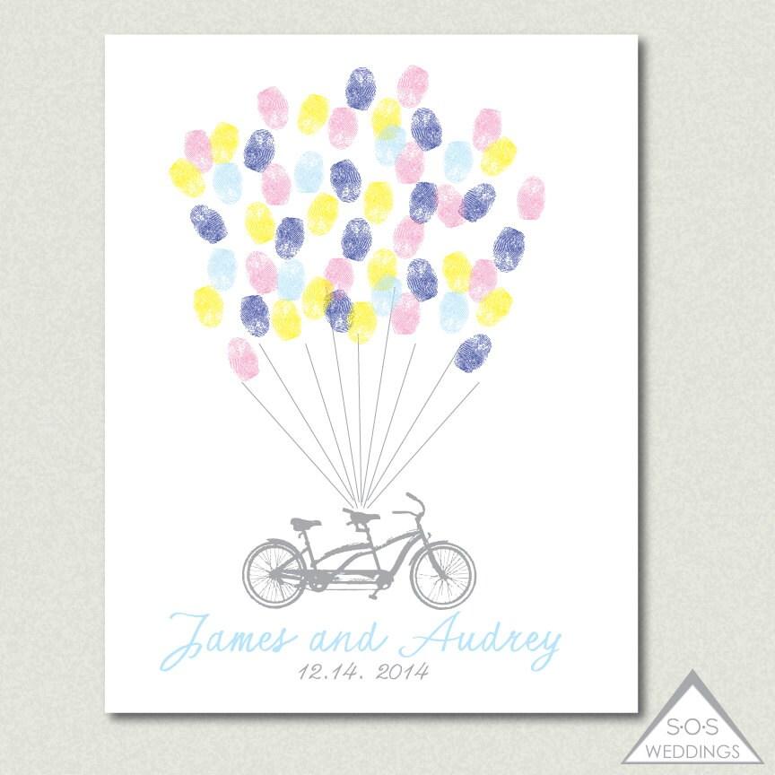 Tandem bike fingerprint guest book wedding thumbprint zoom sciox Gallery