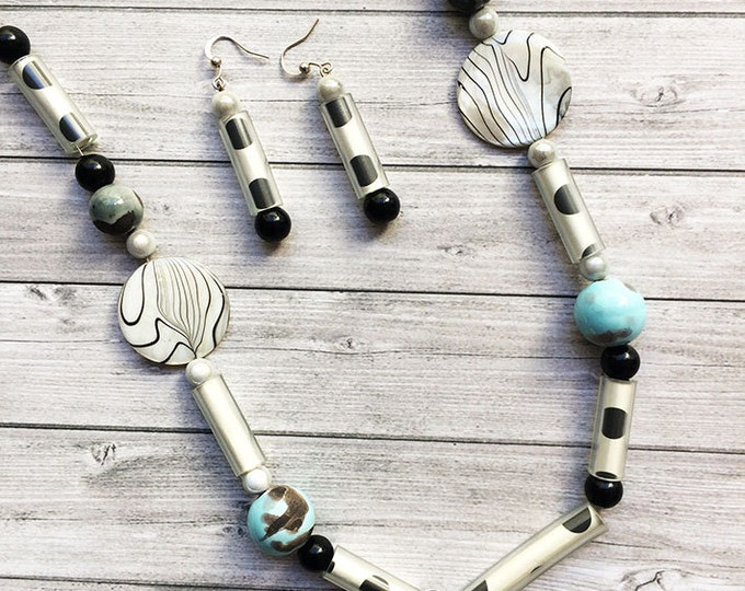 Paper and beads long necklace - mother of pearl -ceramic and glass beads - dots black and white