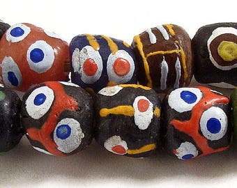 Fancy Krobo Recycled Powder Glass Beads Africa 62772