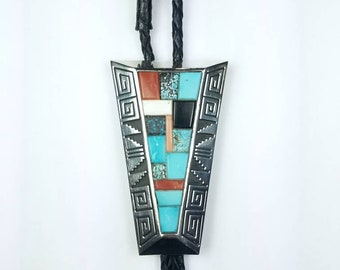 Vintage Native American Navajo handmade Sterling Silver inlay Turquoise Coral Onyx Howlite stone bolo tie