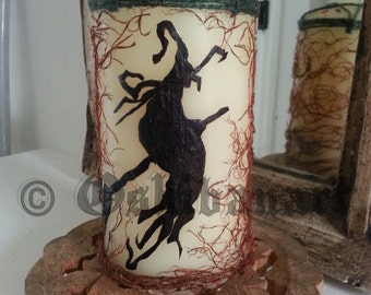 Witch on Broomstick Pressed Botanicals Candle - Oshibana - Natural - Pentacle - Pagan - Wicca