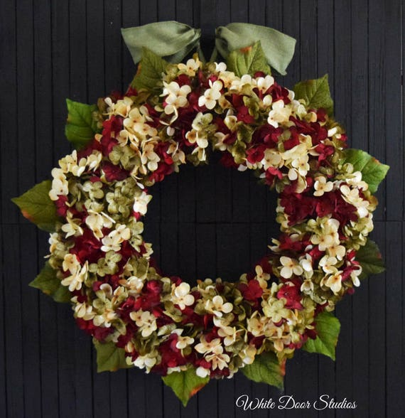 Red Green and Cream Blended Hydrangea Front Door Wreath