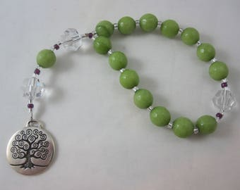 Lime Green Agate and Egyptian Crystal Prayer Chaplet with Tree of Life