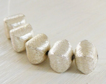 1 Sterling Silver Beads, brushed square pillow, jewelry supplies 925 beading supply