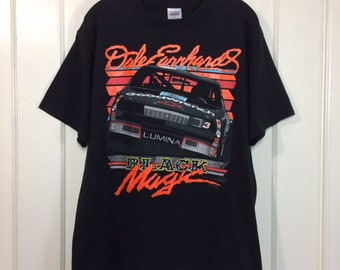1990s Dale Earnhardt Black Magic neon day glow print Hot Rod Drag Race stock car racing NASCAR t-shirt size large 21x27 Chevrolet