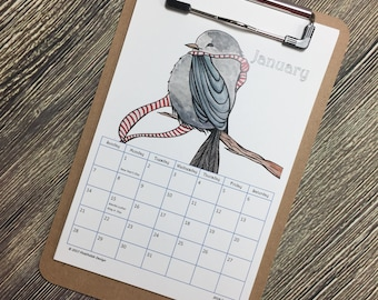 2018 Watercolor Art Calendar with Clipboard