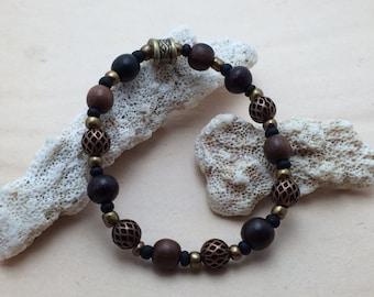 7988- Yoga Bracelet, pearl of Bali, wood
