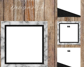 Marble and Black Glitter Instagram Quotes Template Pack | Instaquotes, Social Media Design, Social Branding | Instant Download