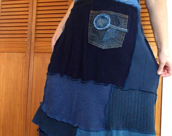 2X Patchwork Floral Skirt Eco Friendly Earthy Recycled Blue XXL Color Block Blue Jean Flower Patch
