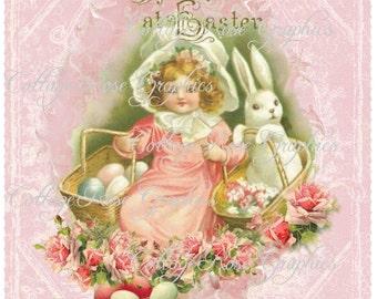Vintage Pink roses Easter Greetings card Large digital download ECS free romantic cottage  single image  buy 3 get one image