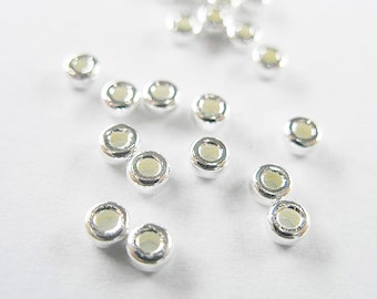 30 of 925 Sterling Silver Little Donut  Spacer Beads 3mm. :th1613