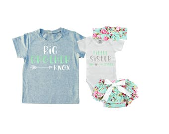 SET Personalized Big Brother/ Little Sister Shirt / Onesie Diaper Cover and Headband set. Matching Big Brother Little Sister . Baby Shower