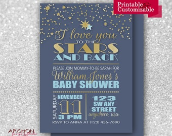 I love you to the Stars and Back Baby Shower Invitation with Blue Back - Blue and Gold Accent Colors - Printable & Personalized - A-00042