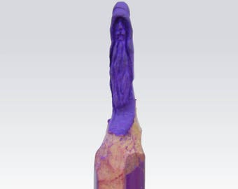 Pencil Sculpture - Wizard Beard - Simple, hand-carved micro sculpture - Colour