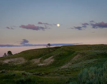 Moon Rising: Nature Landscape Photograph Hayden Valley Yellowstone National Park
