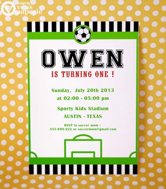 DIY PRINTABLE Invitation Card Soccer Birthday Party