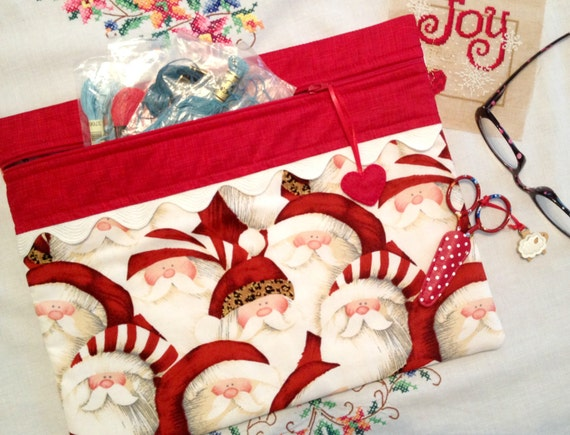 Sassy Leopard Santa Cross Stitch, Sewing, Embroidery Project Bag
