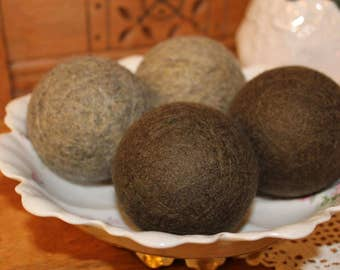 "Felted wool dryer balls, 4 large ""Brown & Oatmeal"" colors from repurposed sweaters.  100% wool, eco friendly!"