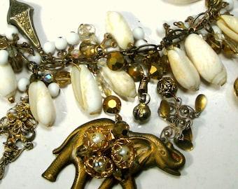 Charm & Seashell Necklace, Bronze n White Bib, OOAK,  Elephant, Heart, Glass Beads, Very Full  Showy Fun by Rachelle Starr