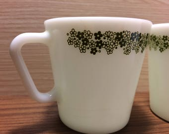 Pair of Pyrex Coffee Cups with Crazy Daisy Pattern, Milk Glass, Made in USA