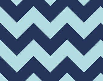 Riley Blake - Large Aqua & Navy Chevron - 1/2 yard fabric - by Boutique Mia