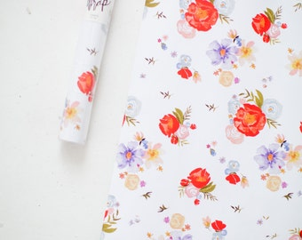 Gift Wrap Sheets - Red and Lavender Watercolor Floral Print  - Set of 3 Sheets