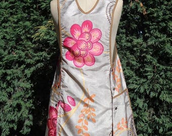 Apron pinafore dress for woman grey and fuschia flowers