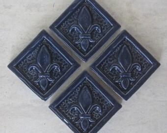 Ceramic Accent Tile Set of 4 Fleur de Lis 2x2 tile in Wild
