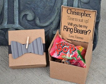 Will You Be My Ring Bearer Box ~ Ring POP ~ Bow Tie Invitation Time To Suit Up Rustic POP the Question