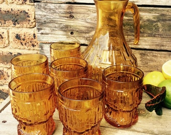 ENESCO Amber Glass Pitcher & Tumblers Made in Italy