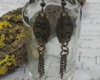"""Gold bronze tassel earrings numbers """"57 and 28"""" found object handmade jewelry"""