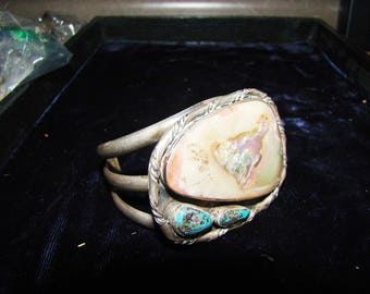 1-X Native American Sterling Turquoise Bracelet