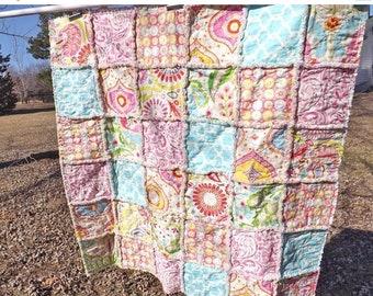On Sale Modern Baby Quilt - Baby Rag Quilt - Kumari Fabrics - Handmade - Toddler Quilt - Crib Quilt