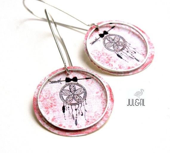 Boho dreamcatcher dream black on pink floral vintage Stud Earrings