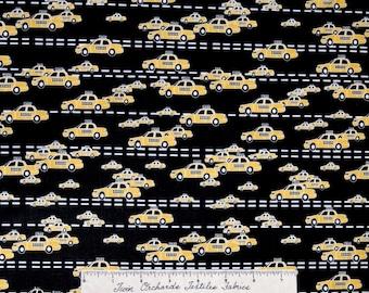 Urban Fabric - Yellow Taxi Cab Cars on Black - Timeless Treasures Cotton YARD