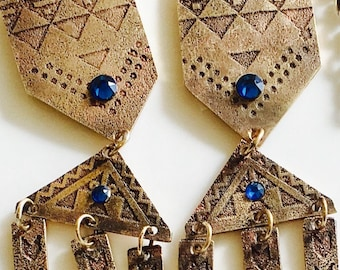 Aztec inspired red brass etched earrings