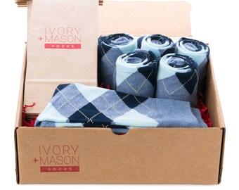 Groomsmen Socks Kit -  Baby Blue Argyle - Premium Cotton - 6 Pairs