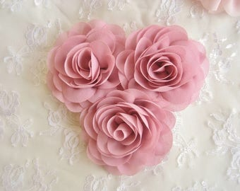 "Dusty Rose Chiffon Flowers -  2.25"" Dusty Rose Flowers Wedding Sashes, Bouquets Blush Chiffon Flowers"
