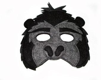 Children's Jungle Animal GORILLA Felt Mask